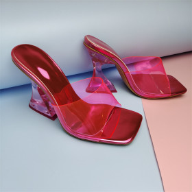 Colored crystal heel, sandals, transparent heel, PVC, sandals