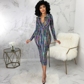 Digital print, long sleeve, V-neck, slim fit, one-piece skirt