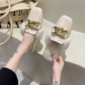 Square head, wool slipper, metal chain, wool half slipper