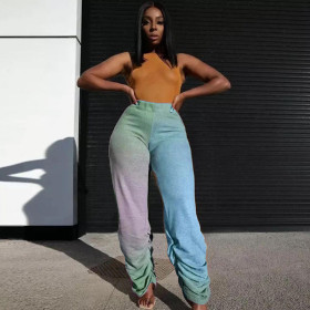 Casual, gradient, pleated, four-color pants