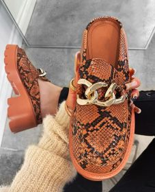 Thick heel, round head, metal chain, slippers, snake pattern, half slippers