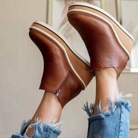 Wedge heel, English style, leather boots, soft leather short boots