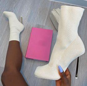 Square head, thin heel, knitted socks, boots, elastic, high heels, medium boots