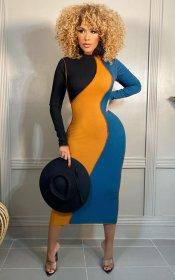 Stitching, contrast, irregular, waist closed, slim dress