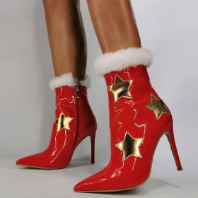 High thin heel, little star, pattern, side zipper, short boots