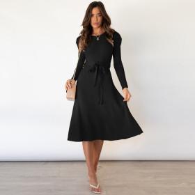 Bubble long sleeve, knitted skirt, large swing dress, wool dress
