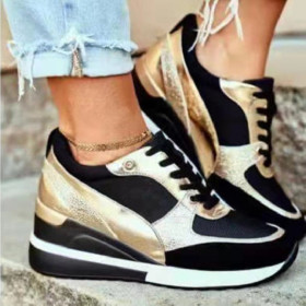 Thick soles, flat soles, casual shoes, sequins, wedge heels, breathable sneakers