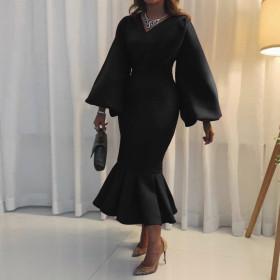 V-neck, long sleeve, Hip Wrap, fishtail dress