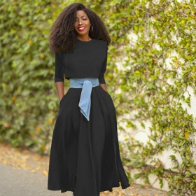 Ol commuter, button, top, contrast color, waist section, large swing skirt, two-piece set