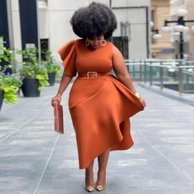 Solid color, stitching, dress, nightclub skirt