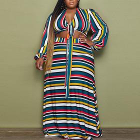 V-neck, colorful stripe, print, suit, large, lace up two-piece set
