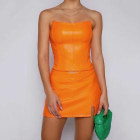 Pu, fishbone, bra, leather vest, skirt, two piece set