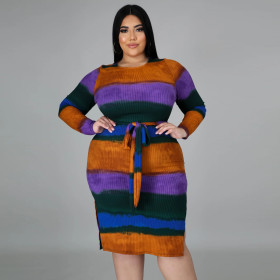 Round neck, long sleeve, pit strip, multi-color splicing, long skirt, large dress