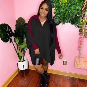 Contrast color, pleated skirt, bat sleeve, dress