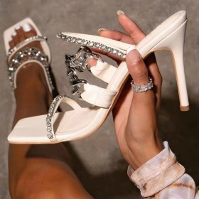Metal chain, Rhinestone, stiletto, sandals