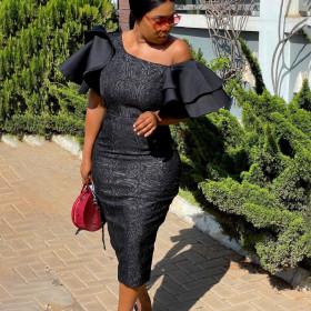 Lace, stitching, high waist, banquet dress
