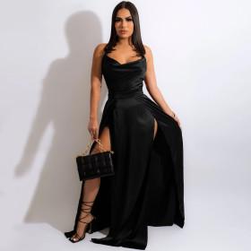 Solid color, suspender, slit skirt, dress