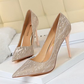 Thin heels, high heels, shallow mouth, pointed head, sequins, single shoes