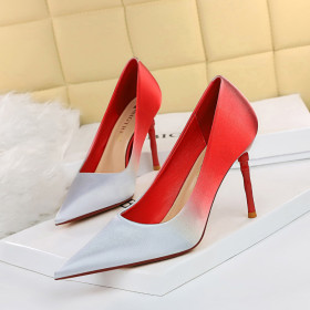 High heels, thin heels, shallow mouth, pointed head, satin, color matching, gradient single shoes