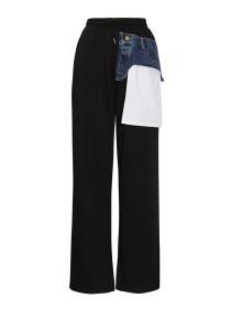 Versatile, casual pants, denim, collage, waist elastic, wide leg guard pants