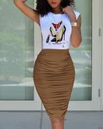 White, sleeveless, top, pleated, skirt suit