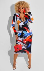 Printed, slim fit, long sleeve, zipper, dress