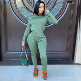 Sports suit, long sleeves, trousers, solid color, elastic, two-piece set