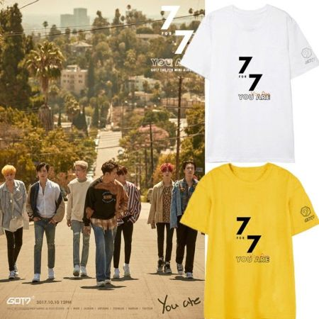 KPOP GOT7 T-shirt 7FOR7 YOU ARE Tshirt Jackson Letter Tee Haechan JENO