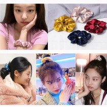 Kpop BlackPink Hair Ring JENNIE Same Bowel Hair Ring INS Satin French Head Rope Hair Rope