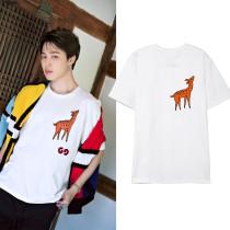 Kpop BTS Bangtan Boys JIMIN Same Short-sleeved T-shirt Korean Version of the Simple Couple Summer