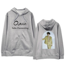 Kpop EXO Sweater SUHO online FANMEETING Hooded Sweater Loose coat Sweatershirt