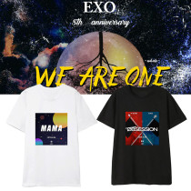 Kpop EXO T-shirt 8th Anniversary Short Sleeve Korean Style Simple Loose Casual Wear Short Sleeve