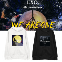 Kpop EXO 8th Anniversary Sweater Ins Korean Pullover Hoodie  Plus Velvet Thin Hooded Sweatershirt