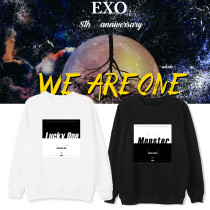 Kpop EXO 8th Anniversary Sweatshirt Korean Ins Pullover Long Sleeve Sweatshirt Thin Style Round Collar Sweatshirt