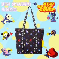 Kpop BTS Shoulder Bag BT21 SPACE Series Printed Shoulder Bag Cute Convenient  Travel Bag CHIMMY COOKY TATA
