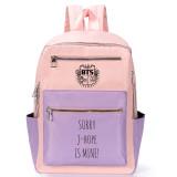 Kpop BTS Backpack Bangtan Boys School Bag SORRY Printing Wild Hit Color Shoulder Backpack Casual Canvas Bag