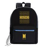 Kpop BTS Backpack Bangtan Boys Backpack Backpack Name Print Student Canvas Bag