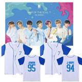 Kpop BTS Bangtan Boys Baseball Shirt Short-sleeved Baseball Uniform Cardigan Jacket Casual Wild T-shirt