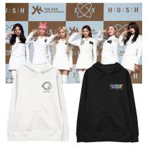 Kpop Everglow Sweater Album HUSH5 Hooded Hoodie Plus Velvet Thin Loose Jacket Sweatershirt