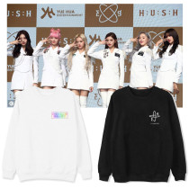 Kpop Everglow Sweater Album HUSH5 Round Neck Sweater Plus Velvet Thin Loose Coat Sweatshirt