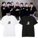 Kpop BTS T-shirt Bangtan Boys Short Sleeve T-shirt 7th Anniversary Shorthand Member Name Short Sleeve V SUGA
