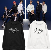 Kpop Stray Kids Sweater TOP English ver Hooded Sweater Pullover Plus Velvet Thin Coat Sweatershirt