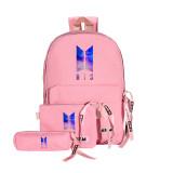 Kpop BTS Backpack Bangtan Boys School Bag Backpack Crossbody Bag Pen Bag Three-Piece Bag V JUNGKOOK