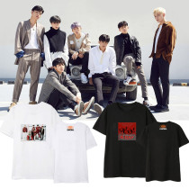 Kpop iKON T-shirt Same Paragraph Street Student Loose T-shirt Couple Dress Short Sleeve