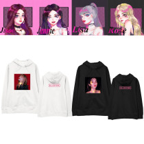 Kpop BLACKPINK Sweater Hooded Sweater Hand-painted Loose Plus Velvet Thin Coat