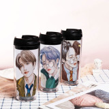 Kpop BTS Water Cup Bangtan Boys Hand-painted Straw Cup Plastic Cup Double Layer Accompanying Cup