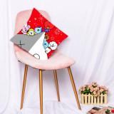 Kpop BTS Pillow Case Bangan Boys Cartoon Cute Cushion Digital Print 3D Cute Sofa Cushion