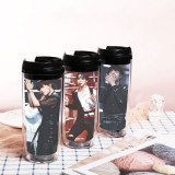 Kpop BTS Water Cup Bangtan Boys New Album Sippy Cup Plastic Cup Double-layer Heat insulation Accompanying Cup