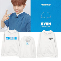 Kpop WANNA ONE Sweater Daniel's New Album CYAN Hooded Sweater Plus Velvet Thin Sweatershirt