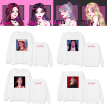 Kpop BLACKPINK Round Neck Sweater Hand-painted New Plus Velvet Thin Sweatershirt LISA ROSE JISOO JENNIE